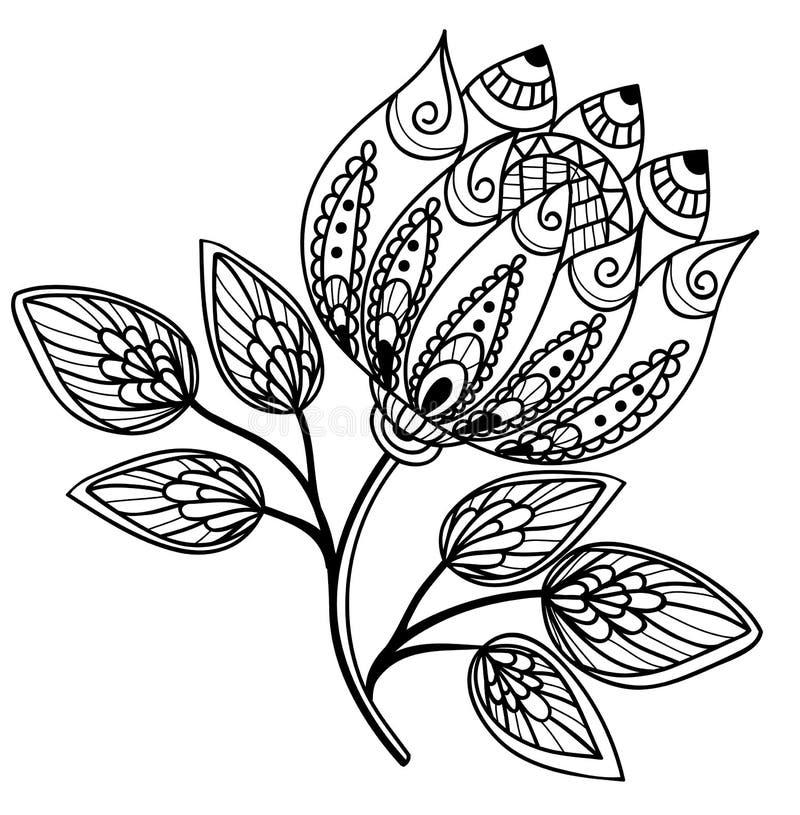 Flor preto e branco bonita, desenho da mão ilustração do vetor