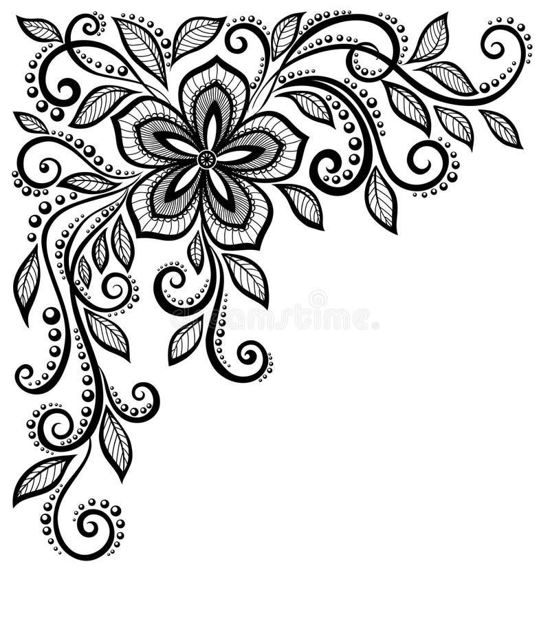 Flor preto e branco bonita do laço no corne ilustração royalty free