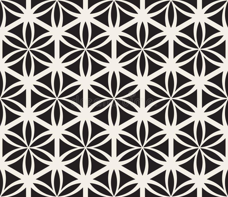Flor preto e branco sem emenda do vetor do teste padrão sagrado do círculo da geometria da vida ilustração royalty free
