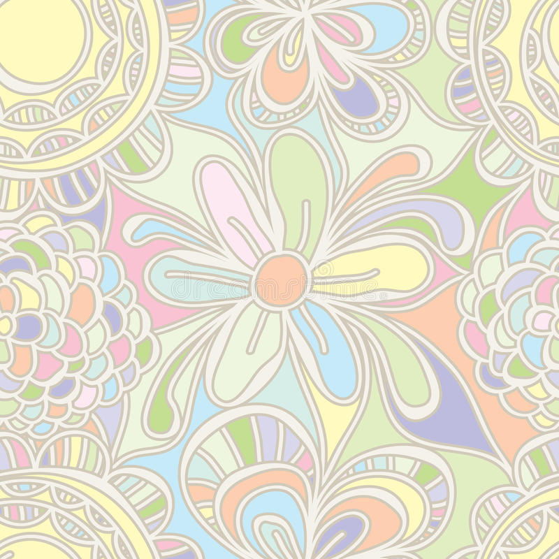 Flor que dibuja el modelo inconsútil del color en colores pastel stock de ilustración