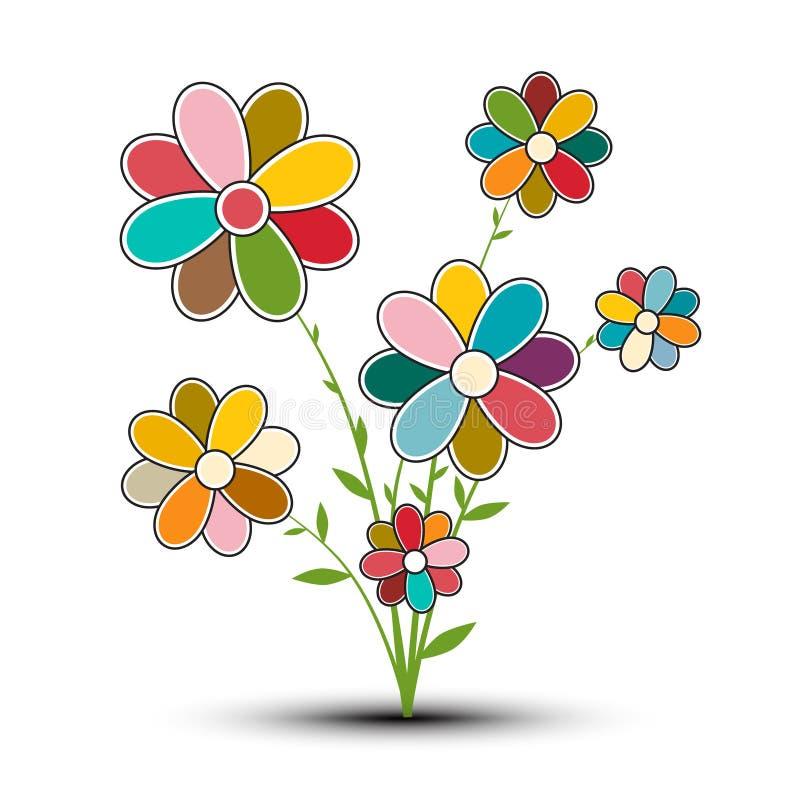 Flor retra abstracta del vector ilustración del vector