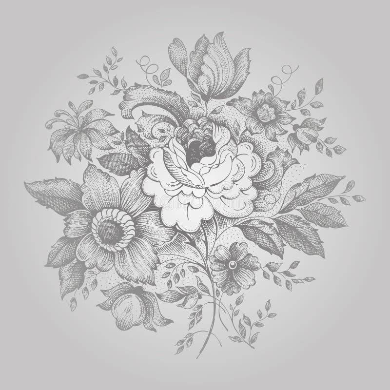Flor retra adornada stock de ilustración