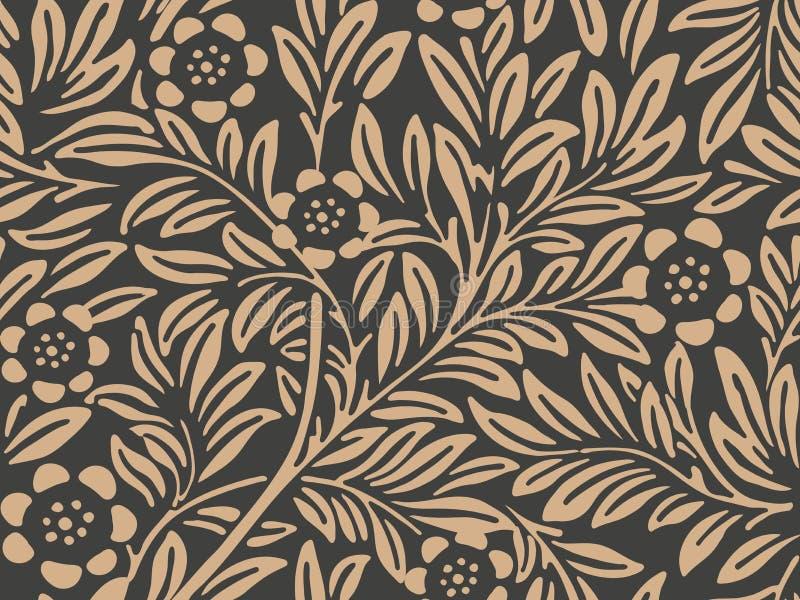 Flor retra inconsútil de la hoja de la planta de la naturaleza del jardín botánico del fondo del modelo del damasco del vector Di ilustración del vector