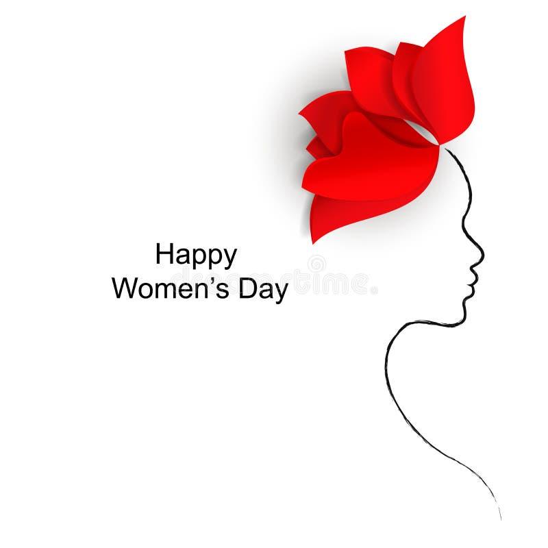 Flor roja brillante y una silueta de la cara de una mujer en un fondo blanco con el día de las mujeres felices de las palabras stock de ilustración