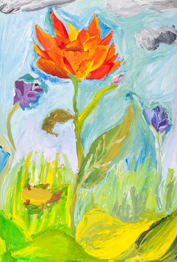 Flor roja de la amapola en el prado verde ilustración del vector