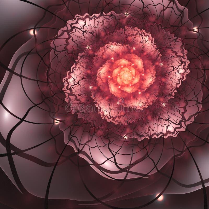 Flor roja del fractal con el centro del oro stock de ilustración