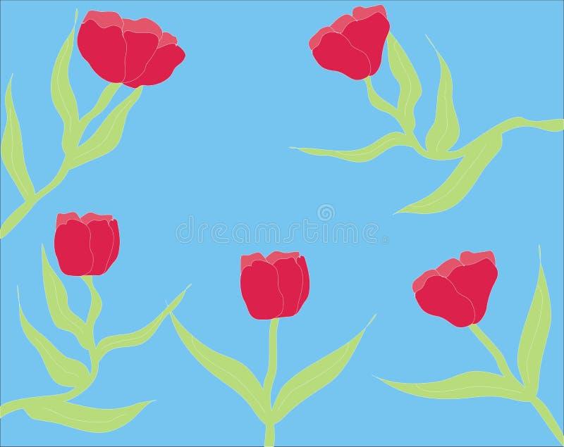 Flor roja en fondo azul libre illustration