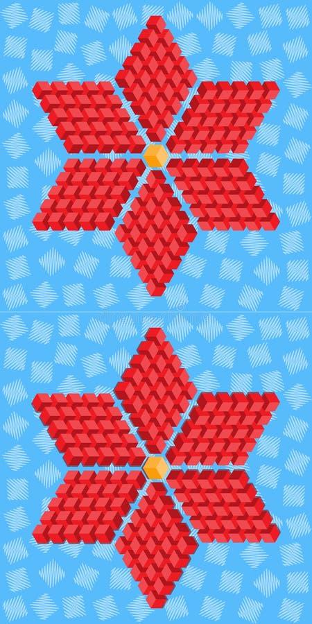 Flor roja geométrica que consiste en los cubos isométricos stock de ilustración