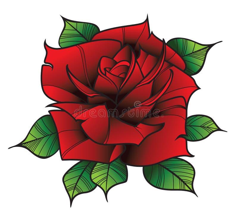 Flor Rosa no estilo da tatuagem foto de stock