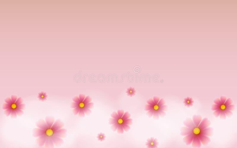 Flor rosada con blanco de la nube en fondo rosado ilustración del vector