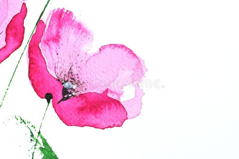 Flor rosada de la amapola del Watercolour ilustración del vector