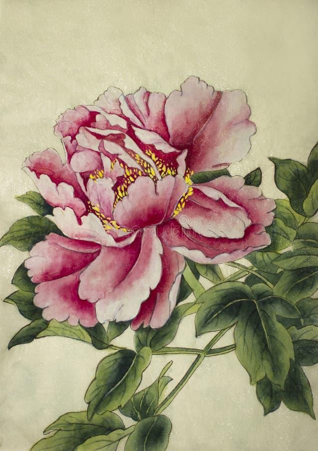 Flor rosada del peony ilustración del vector