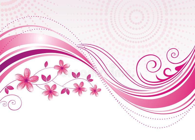 Flor rosada. Fondo floral. stock de ilustración