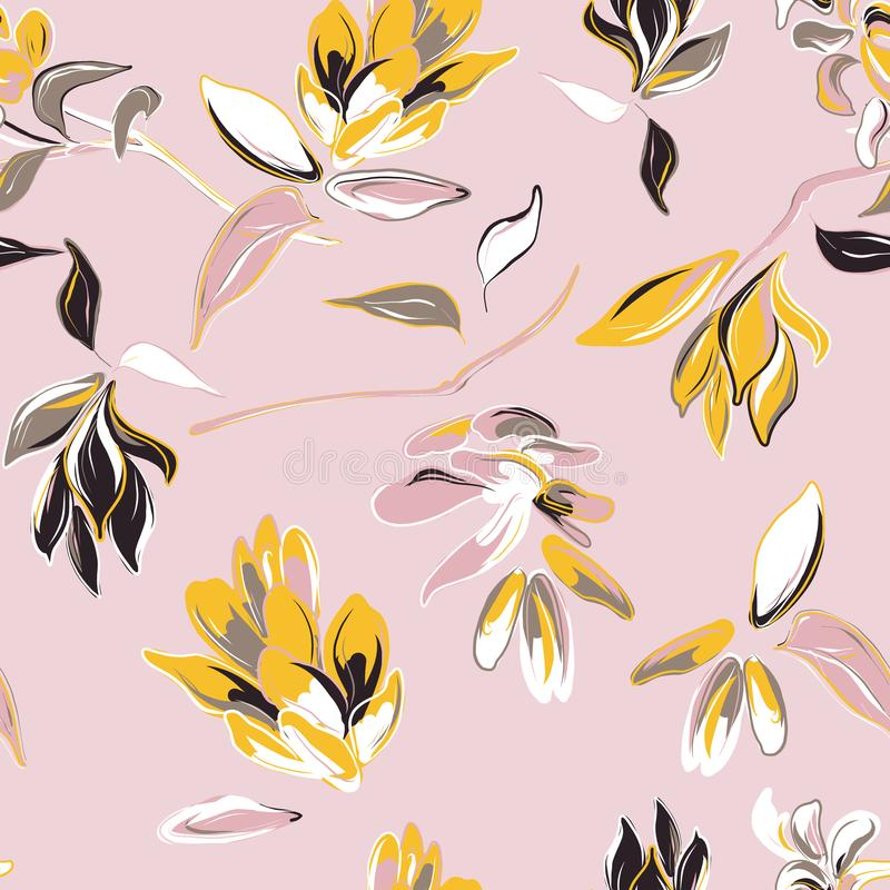 Flor rosada y fondo a mano de las hojas amarillas Floración del verano del vector, modelo aislado de la botánica Telas del jardín libre illustration