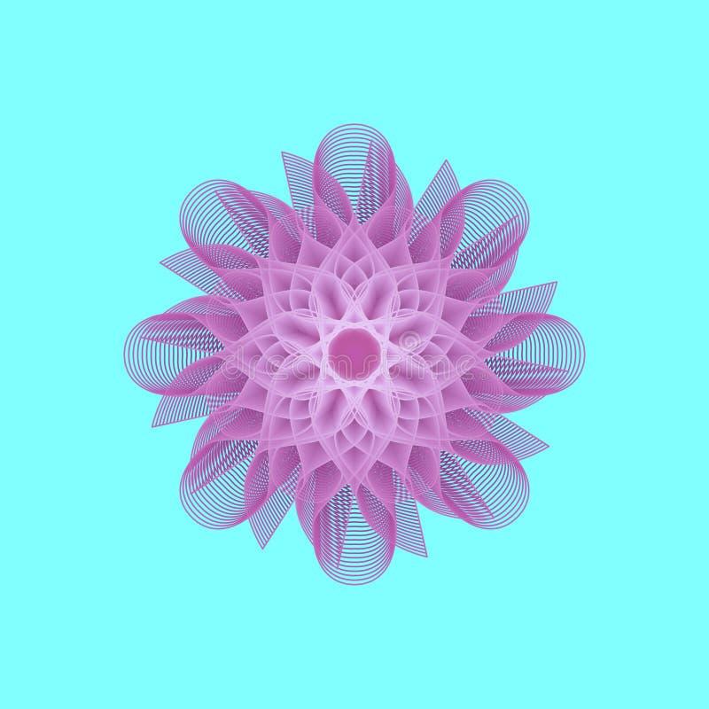 Flor roxa da fantasia no fundo de turquesa ilustração do vetor