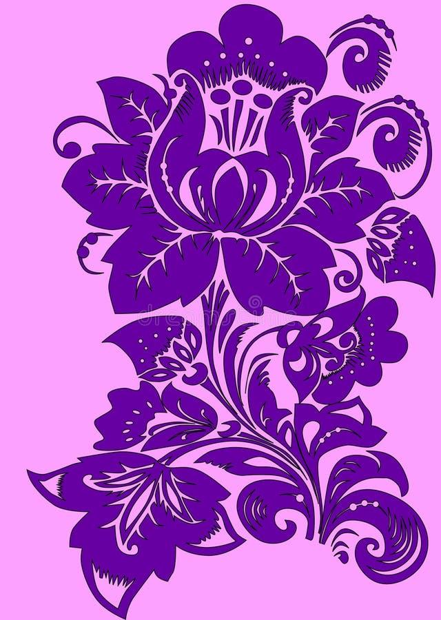 Flor roxa na cor-de-rosa ilustração stock