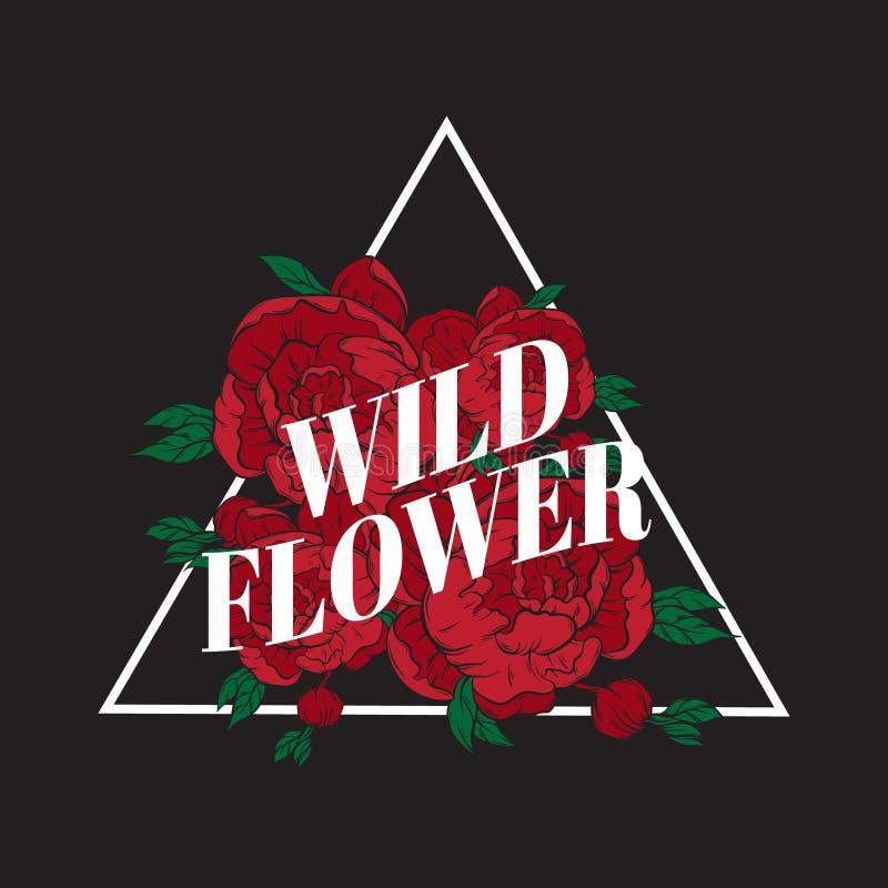 Flor selvagem Rotulação do vetor com as flores tiradas mão ilustração stock