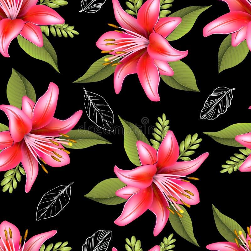 Flor sem emenda do lírio e para deixar o teste padrão ilustração stock
