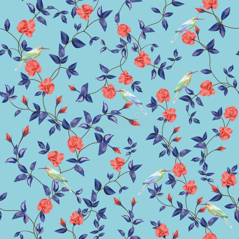 A flor sem emenda do teste padrão aumentou com fundo do azul dos pássaros ilustração stock