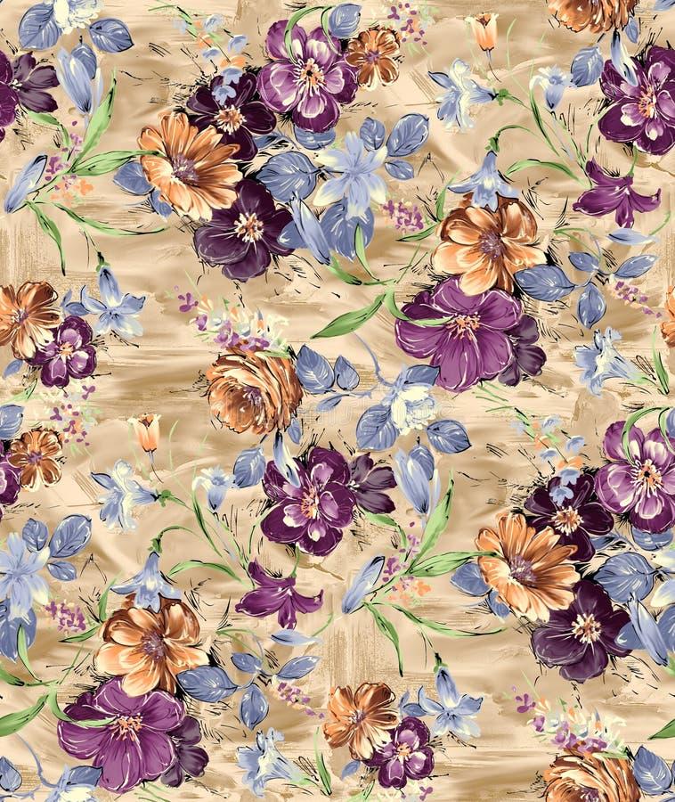 Flor sem emenda do vintage com fundo digital ilustração do vetor