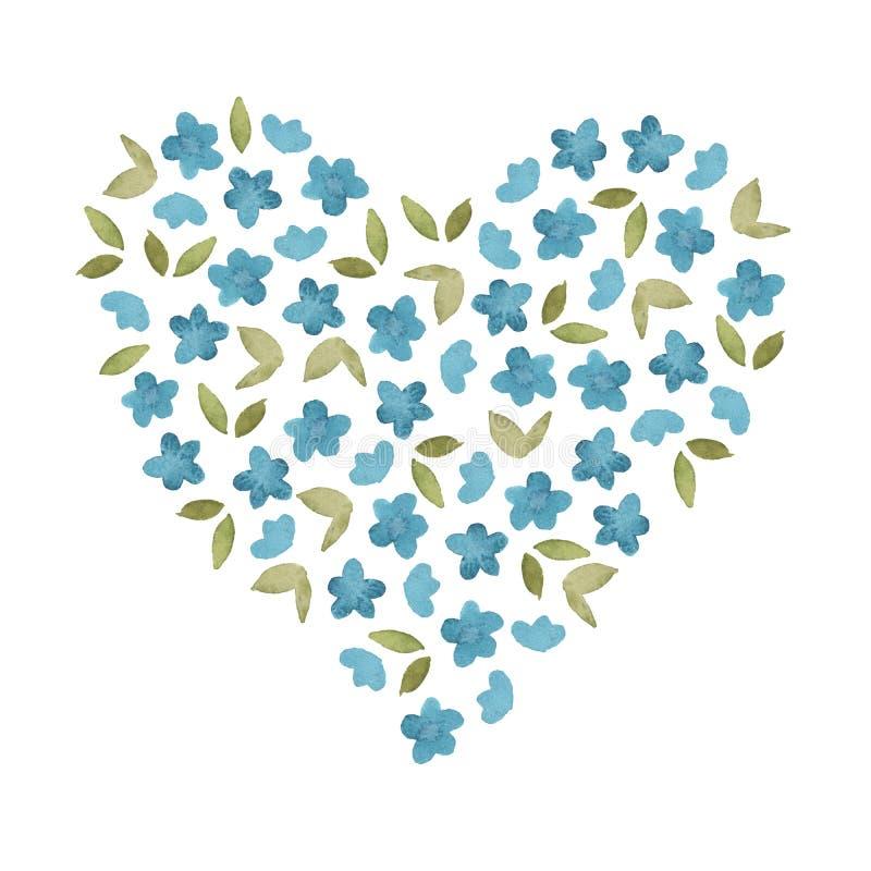 Flor simple azul de la acuarela y hoja verde en el fondo blanco libre illustration