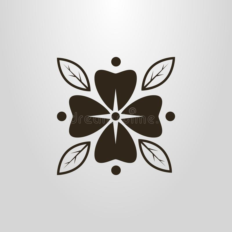 Flor simple del vector con el pictograma de los pétalos stock de ilustración
