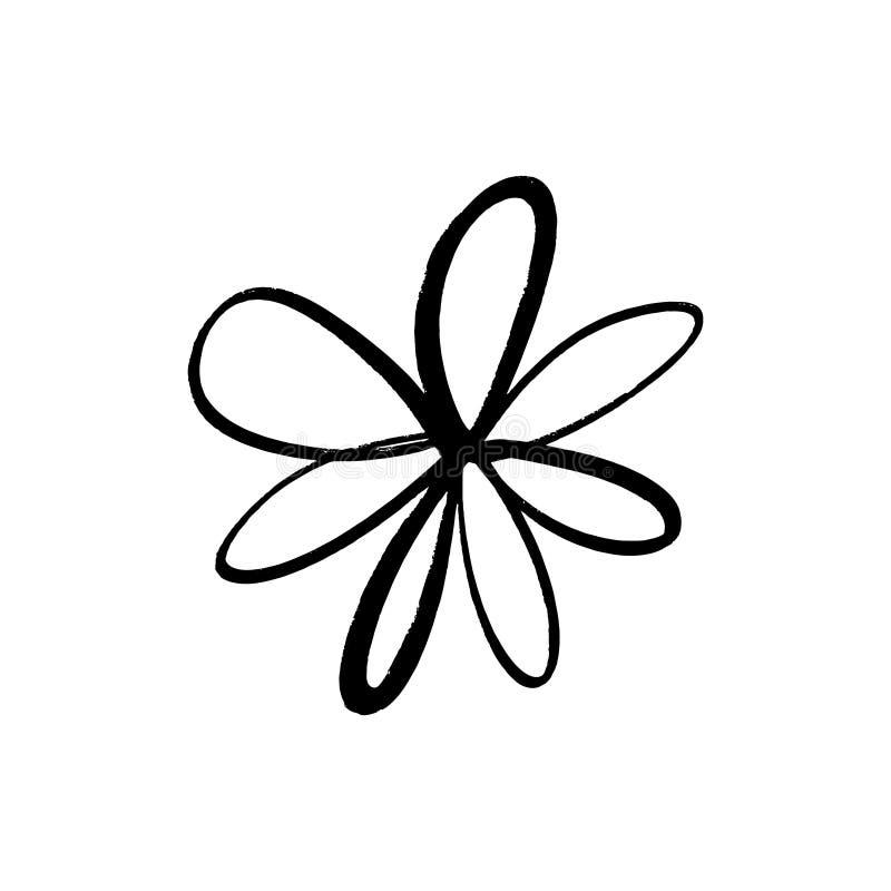 Flor simples tirada mão da tinta da escova Elemento do estilo do grunge do projeto moderno Símbolo preto do vetor ilustração royalty free