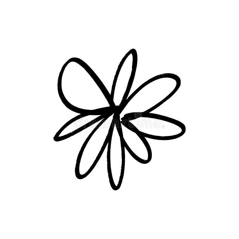 Flor simples tirada m?o da tinta da escova Elemento do estilo do grunge do projeto moderno S?mbolo preto do vetor ilustração do vetor