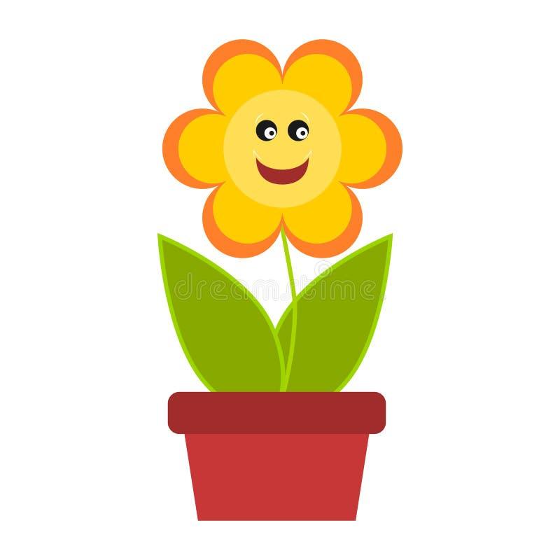 Flor sonriente en una maceta ilustración del vector