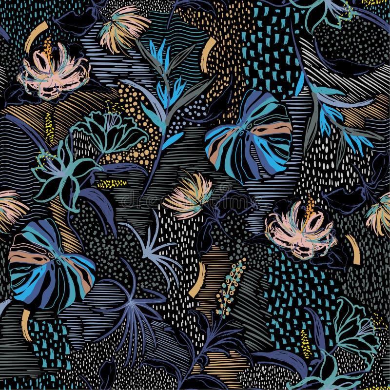 Flor tirada do vetor do teste padrão mão sem emenda à moda colorida, floresta tropical da palma, e florescência floral na linha h ilustração royalty free