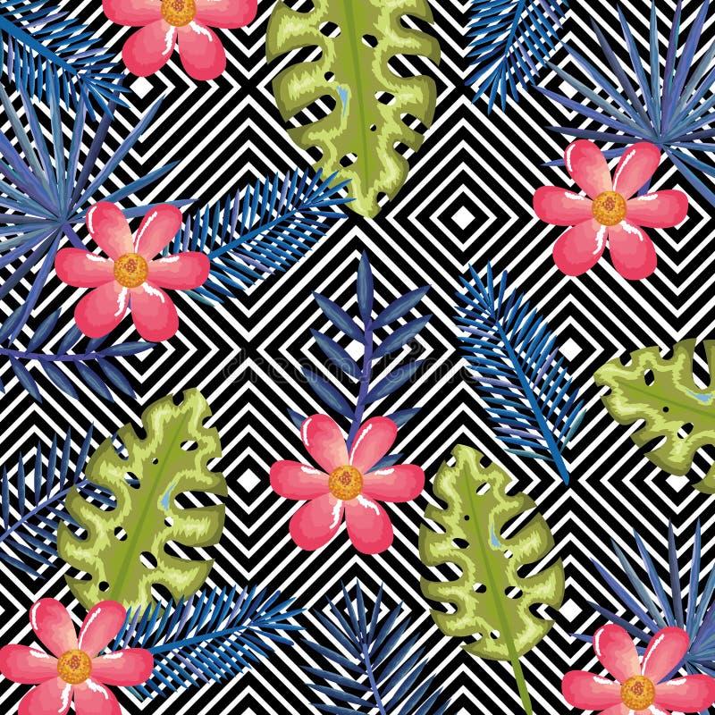 A flor tropical com o computador de secretária abstrato do fundo isolou o ícone foto de stock