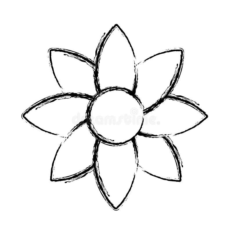 Flor tropical de la belleza del Grunge con estilo de los pétalos ilustración del vector