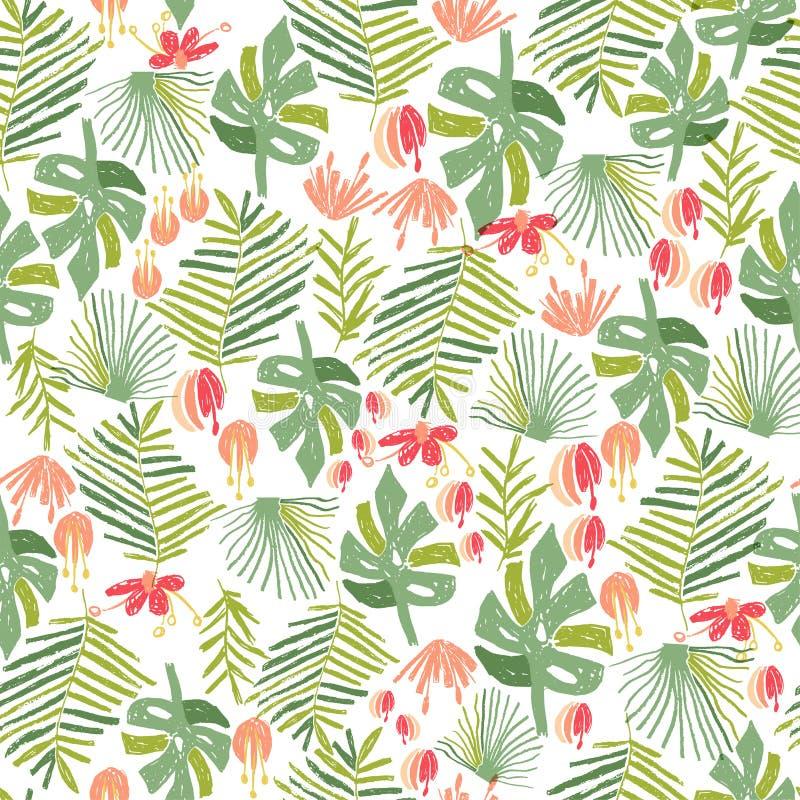 Flor tropical, teste padrão sem emenda da selva ilustração stock