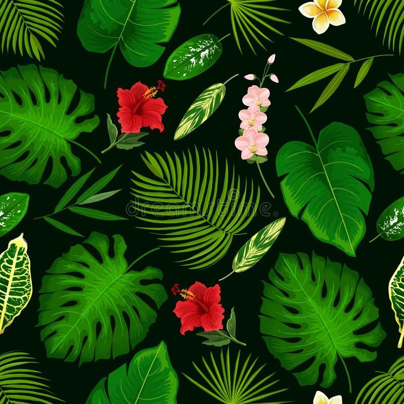 Flor tropical y modelo inconsútil de hoja de palma ilustración del vector