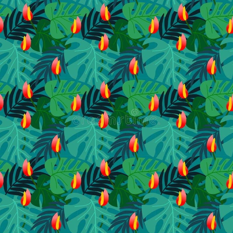 Flor vívida e teste padrão sem emenda das folhas tropicais ilustração royalty free
