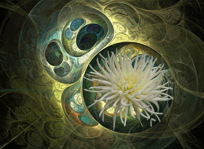 Flor verde y blanca ilustración del vector