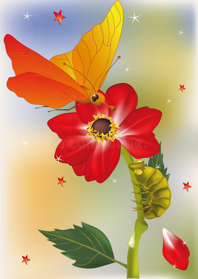 Flor vermelha a borboleta ilustração do vetor