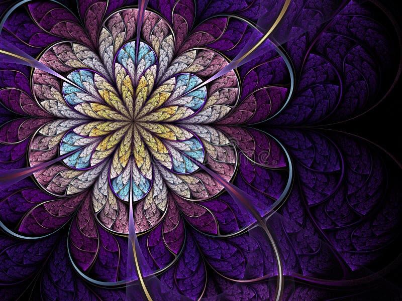 Flor violeta do fractal ilustração stock