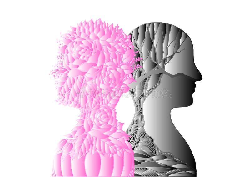 Flor y ?rbol seco negro, mano del rosa de la cabeza humana del dise?o del ejemplo del arte abstracto del oto?o de la primavera di ilustración del vector