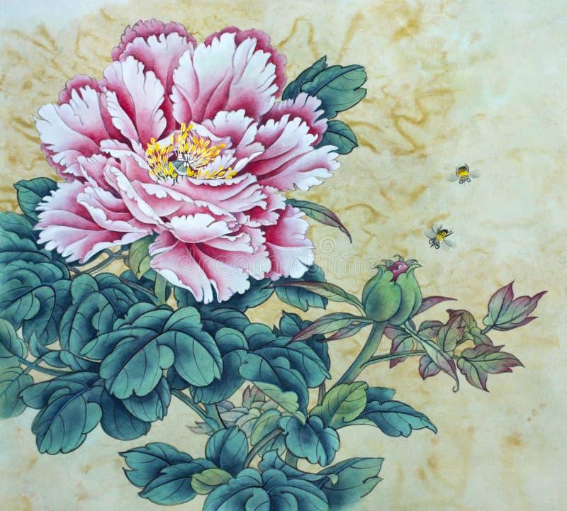 Flor y abejas rosadas de la peonía stock de ilustración