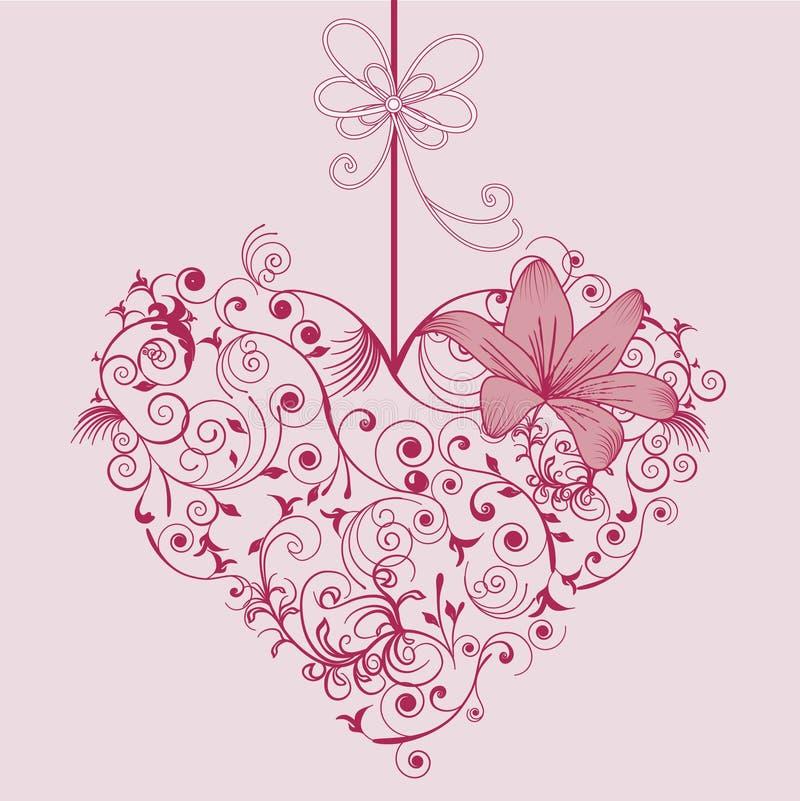Flor y corazón ilustración del vector