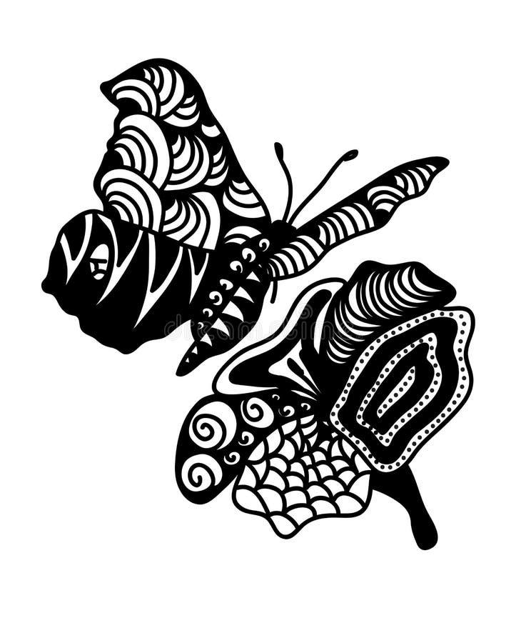 Flor y mariposa de Zentangle stock de ilustración