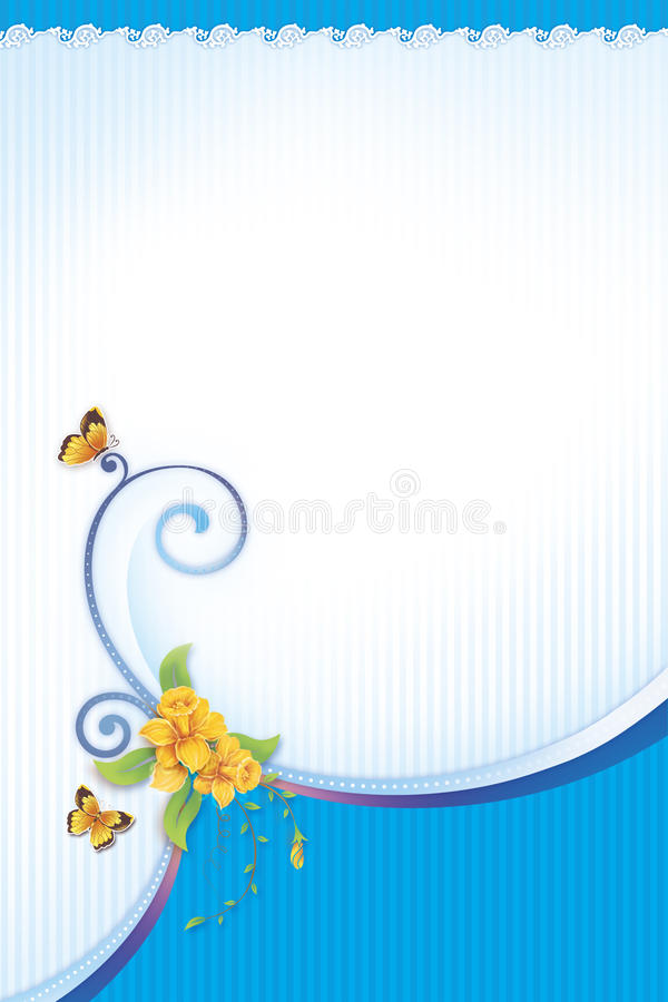 Flor y mariposa para la tarjeta de felicitación libre illustration