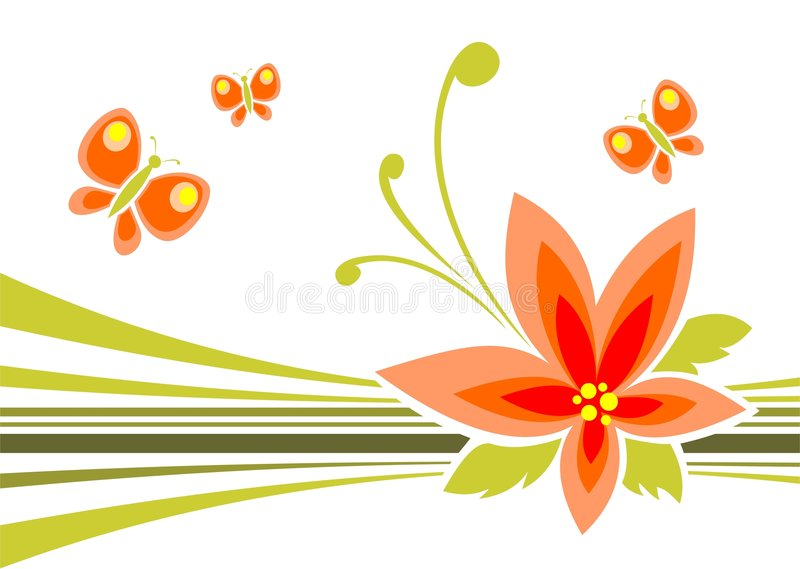 Flor y mariposas stock de ilustración