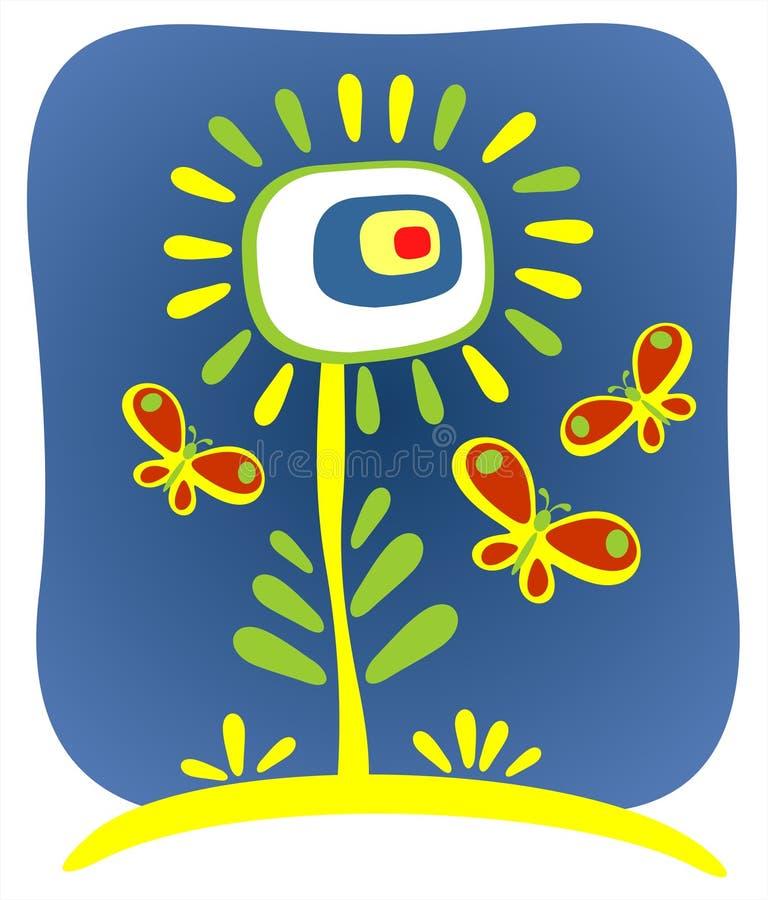 Flor y mariposas adornadas libre illustration