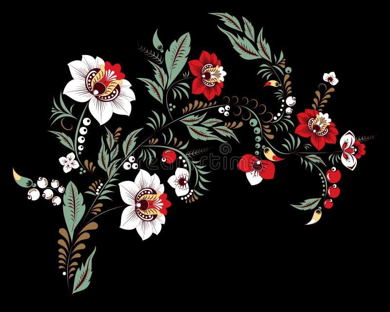 Flor y onda abstractas comunes, ramo del drenaje de la mano del garabato stock de ilustración