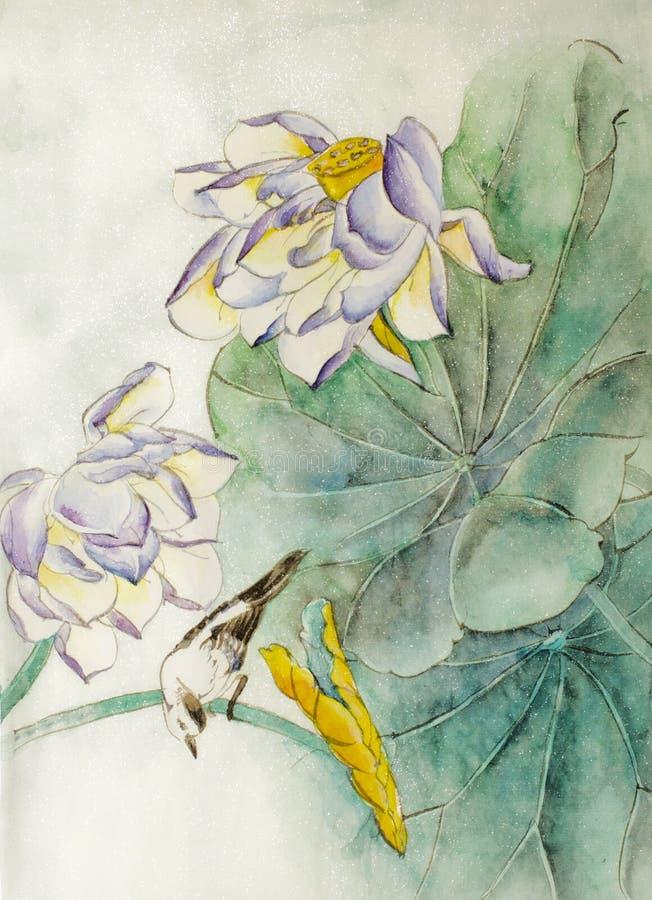 Flor y pájaro de Lotus ilustración del vector