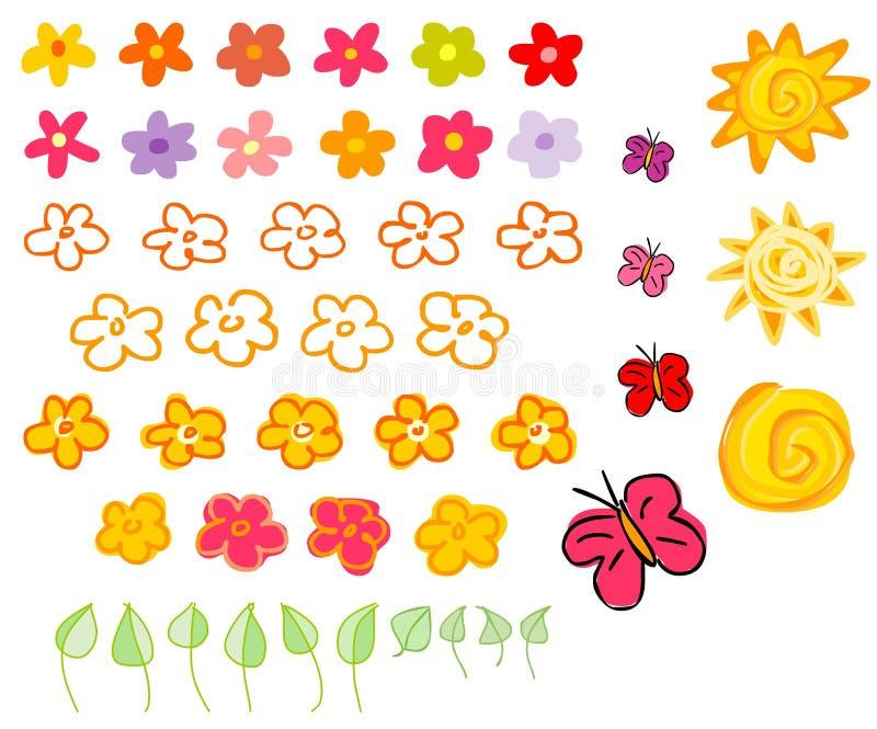 Flor y soles fotos de archivo
