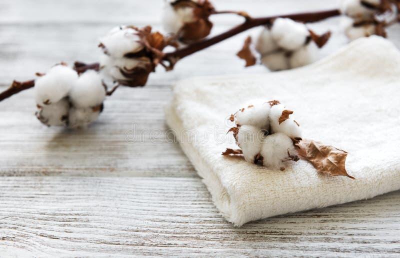 Flor y toalla del algod?n fotos de archivo