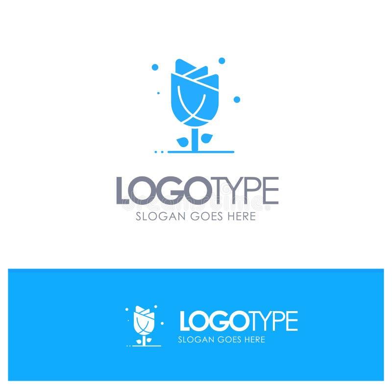 Flora, Bloemen, Bloem, Aard, Rose Blue Solid Logo met plaats voor tagline royalty-vrije illustratie